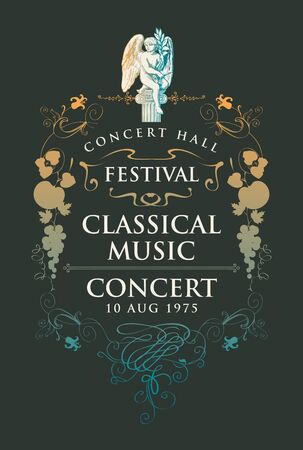 Vector poster for a concert or festival of classical music with hand-drawn angel sculpture and vignette in vintage style on the black background