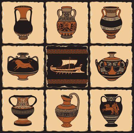 Bannière vectorielle sur le thème de la Grèce antique sous la forme d'un ensemble de carreaux de pierre, d'argile ou de carreaux de céramique de style rétro. Illustrations avec ornements grecs, amphores et navire grec ancien. Vecteurs