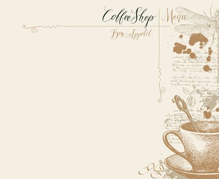 Vector menu for Coffee house with a place for the price list, with a hand-drawn coffee cup, dragonfly and handwritten inscriptions on a light abstract background with illegible notes and blots Illustration