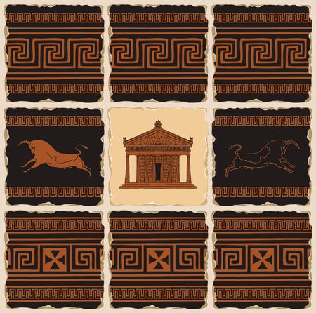 Vector banner on the theme of Ancient Greece in the form of a set of stone tiles, clay or ceramic tiles. Illustrations with Greek ornaments, Cretan bulls and the facade of the Parthenon in retro style Standard-Bild - 136592152