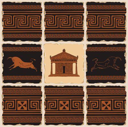 Vektorbanner zum Thema Antikes Griechenland in Form einer Reihe von Steinfliesen, Ton- oder Keramikfliesen. Illustrationen mit griechischen Ornamenten, kretischen Stieren und der Fassade des Parthenon im Retro-Stil