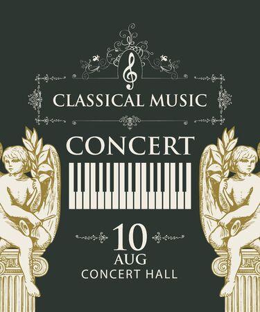 Affiche vectorielle pour concert de musique classique avec touches de piano et sculptures d'anges dessinées à la main dans un style rétro sur fond noir. Convient pour l'affiche, le dépliant, l'invitation et d'autres supports promotionnels