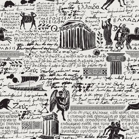 Vector seamless pattern on the theme of ancient Greece. Black and white background with illegible handwritten texts and sketches in retro style. Suitable for wallpaper, wrapping paper or fabric