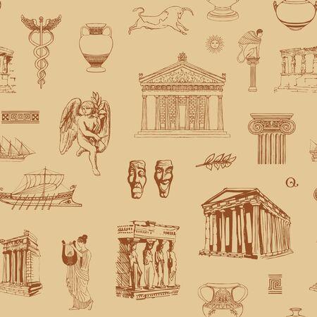 Vektornahtloses Muster zum Thema Antikes Griechenland mit Skizzen von Baudenkmälern und Symbolen der antiken griechischen Kultur. Tapete, Geschenkpapier oder Stoff mit handgezeichneten Illustrationen