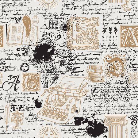 Patrón transparente de vector sobre un tema de escritores. Fondo abstracto con máquina de escribir dibujada a mano, libros, letras mayúsculas y notas manuscritas ilegibles. Adecuado para papel tapiz, papel de regalo o tela.