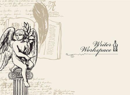 Banner de vector sobre un tema de escritores con bocetos y lugar para el texto. Ilustración vintage con ángel dibujado a mano, tintero, pluma, cuaderno y notas escritas a mano ilegibles. Espacio de trabajo del escritor