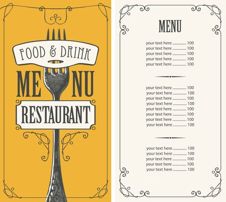 Vector menu for restaurant with price list and hand-drawn fork in figured frame with curls on the yellow background in retro style Illustration
