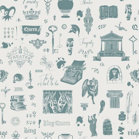 Vector seamless pattern on the theme of theater and drama with drawings, sketches and inscriptions. Can be used as Wallpaper, wrapping paper, background, fabric or textile in vintage style