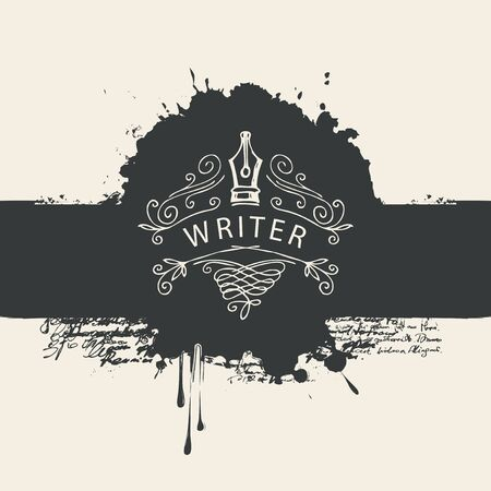 Vector banner with writer  and abstract black stains in retro style. Artistic illustration with ink pen, black blobs and splashes Vectores
