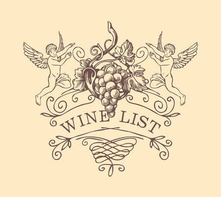 Vector cover or banner for a wine list with curlicues, angels and grapes in baroque style. Hand-drawn illustration with inscription.