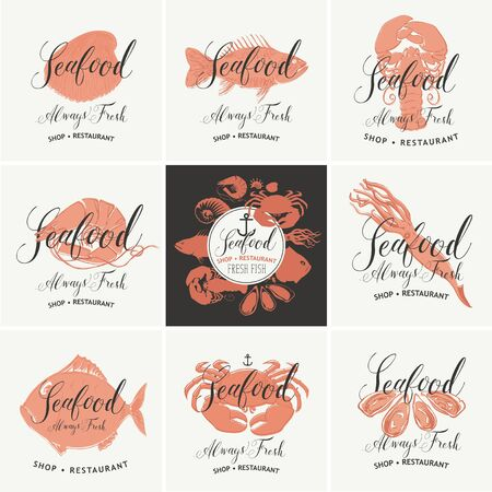 Set of vector banners for seafood shop or restaurant. Drawings of fishes, crustaceans, mussels and other sea inhabitants with handwritten inscriptions. Always fresh seafood.