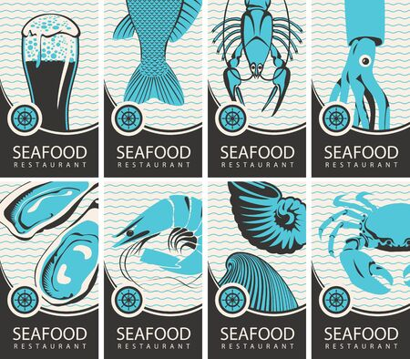Set of vector banners or business cards for seafood restaurant with various seafood, beer and place for text
