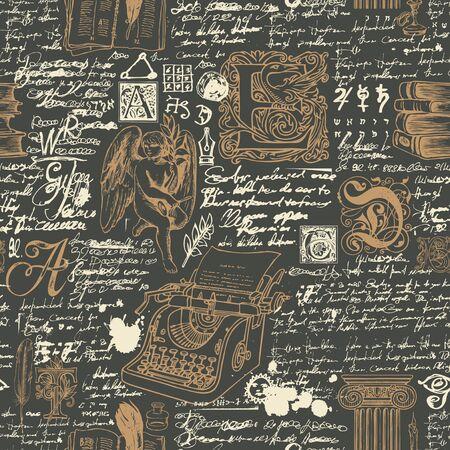 Modèle sans couture de vecteur sur un thème d'écrivains. Abstrait avec des croquis et des notes manuscrites illisibles. Dessin à la craie sur le tableau noir. Convient pour le papier peint, le papier d'emballage, le tissu