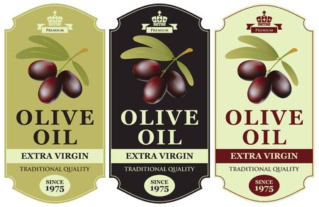 Set of three vector labels for extra virgin olive oil with black olives in figured frame in retro style.