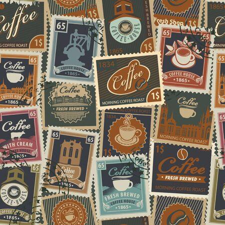 Reticolo senza giunte sul tema del caffè e caffè con francobolli e timbri postali in stile vintage. Carta da parati adatta, carta da imballaggio, tessuto.