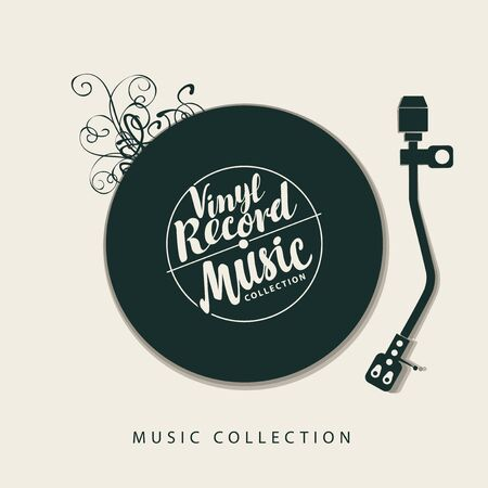 Vector music poster with vinyl record, record player and calligraphic lettering in retro style. Can be used as design elements for flyer, card, brochure, invitation Ilustração Vetorial