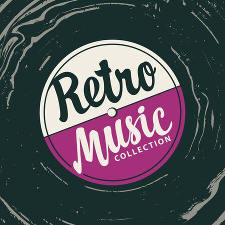 Vektormusikplakat mit Schallplatte und kalligraphischem Schriftzug Retro-Musiksammlung im Vintage-Stil. Kann als Gestaltungselement für Flyer, Banner, Karten, Broschüren, Einladungen verwendet werden