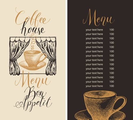 Vector menu for coffee house with price list and handwritten inscriptions, decorated with hand-drawn coffee cup and curtains in retro style.  イラスト・ベクター素材
