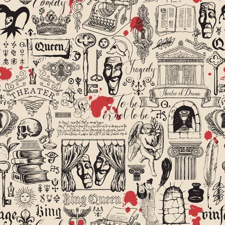 Vector abstract seamless pattern on the theme of theater and drama with black pencil drawings and red blots in vintage style. Suitable for Wallpaper, wrapping paper, background, fabric or textile