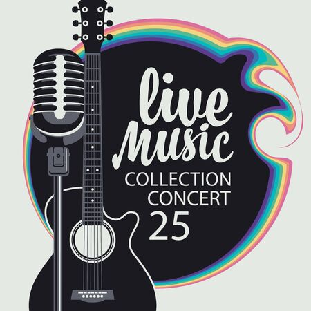 Cartel de música de vector con guitarra, micrófono e inscripción caligráfica Música en vivo. Se puede utilizar como elemento de diseño para banner, flyer, tarjeta, folleto, invitación, portada.