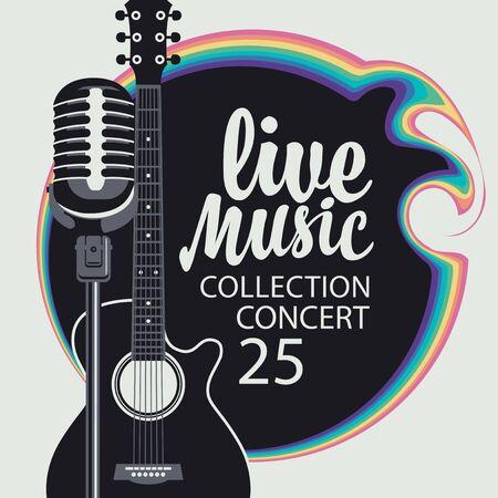 Poster musicale vettoriale con chitarra, microfono e iscrizione calligrafica Musica dal vivo. Può essere utilizzato come elemento di design per banner, volantini, biglietti, brochure, inviti, copertine