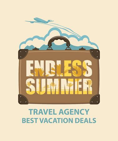 Vector banner with travel suitcase, airplane and words Endless summer. Suitable for poster, flyer, invitation, card, t-shirt design.