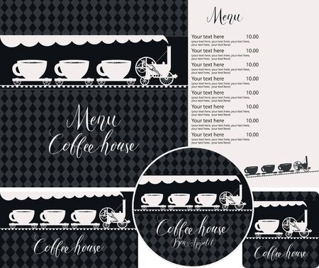 Vector set of design elements for coffee house. Menu, business cards and coasters for drinks on the black checkered background with old steam locomotive and wagons in form of coffee cups Zdjęcie Seryjne - 137311238