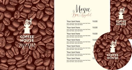 Vector set of design elements for coffee house. Menu, business cards and coasters for drinks with old coffee grinder on the background of coffee beans