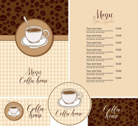 Vector set of design elements for a coffee house in flat style. Menu, business card and drink stand with a coffee Cup on a background of decorative coffee beans and a checkered tablecloth Ilustracja