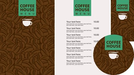 Vector set of design elements for coffee house. Menu, business cards and coasters for drinks with cup of hot coffee on the background of decorative coffee beans Zdjęcie Seryjne - 137311242