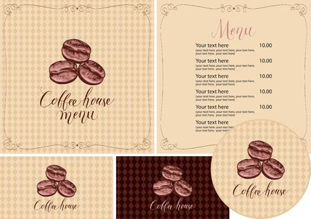 Vector set of design elements for coffee house. Menu, business cards and coasters for drinks with three coffee beans and handwritten inscriptions on the background of checkered tablecloth