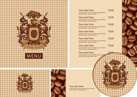 Vector set of design elements for coffee house. Menu, business cards and coasters for drinks with vintage coat of arms on a checkered background with a pattern of coffee beans