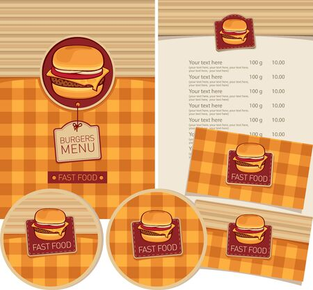 Vector set of design elements for fast food restaurant. Menu, business cards and coasters for drinks with cheeseburger or hamburger and inscriptions on the checkered background. Burgers menu Zdjęcie Seryjne - 137344774