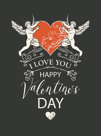 Vector greeting card, postcard or banner with inscriptions I Love you and Happy Valentines Day. Valentine card with angels and red heart in retro style on black background  イラスト・ベクター素材