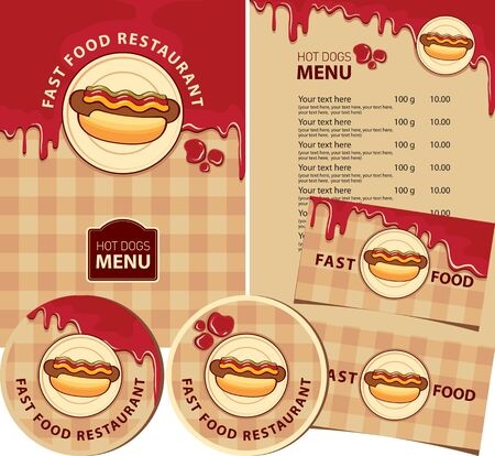 Vector set of design elements for fast food restaurant. Menu, business cards, and drink stands with hot dogs, ketchup drops, and inscriptions on the background of checkered tablecloth. Hot dog menu Ilustracja