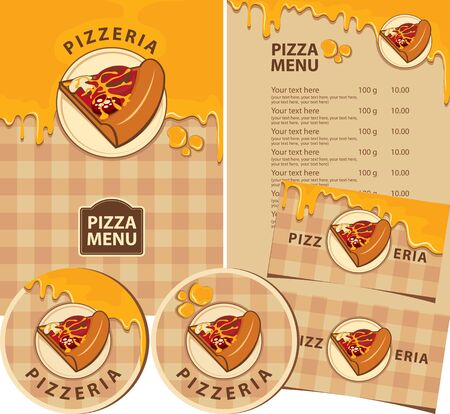 Vector set of design elements for a pizzeria. Menus, badges, business cards, and drink stands with a slice of pizza, melted cheese, and inscriptions on a checkered tablecloth background Ilustracja