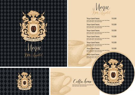 Vector set of design elements for coffee house in retro style. Menu, business cards and drink stands with vintage coat of arms and hand-drawn cup on a black checkered background Vectores