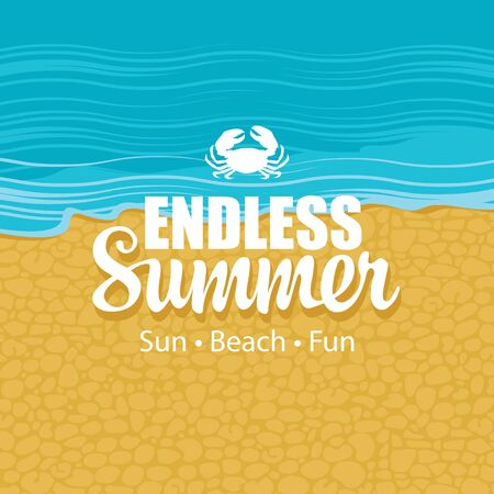 Vector travel banner with the sea, sand, little crab and words Endless Summer. Sun, beach, fun. Suitable for poster, flyer, invitation, card, label Illusztráció