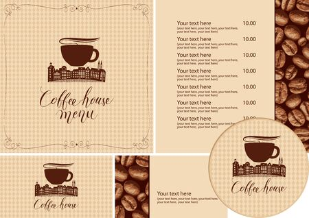 Vector set of design elements for coffee house. Menu, business cards and coasters for drinks with old town on a checkered background with a pattern of coffee beans in retro style