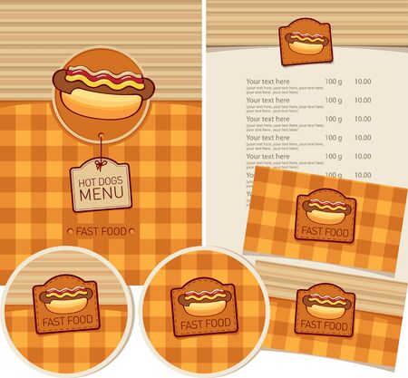 Vector set of design elements for fast food restaurant. Menu, business cards and coasters for drinks with hot dog and inscriptions on the checkered background. Hot dogs menu Zdjęcie Seryjne - 137682091