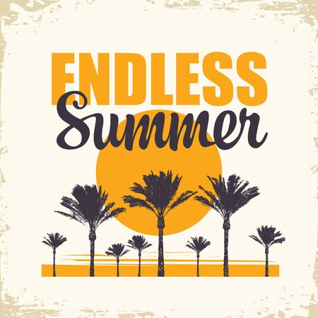 Vector travel banner with palm trees, sun and words Endless Summer on the old paper background. Summer poster, flyer, invitation or card in retro style. Illusztráció