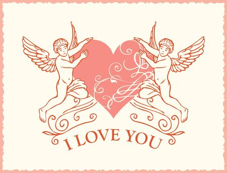 Vector greeting card or banner with inscription I Love you. Valentine card on the theme of declaration of love with angels and heart in retro style  イラスト・ベクター素材