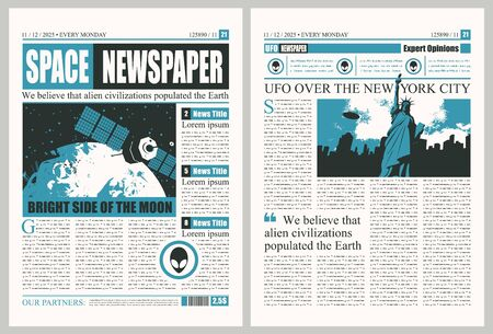 Vector template for the layout of the newspaper on the theme of UFOs. Newspaper columns with unreadable text, headlines and illustrations on the theme of extraterrestrial civilizations, alien in USA