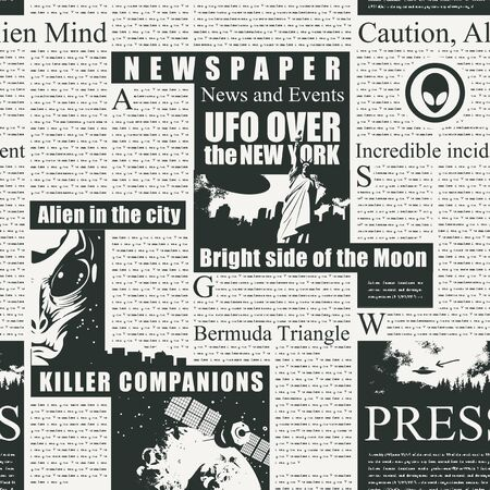 Vector seamless pattern with newspaper or magazine columns. Black and white background with unreadable text, headlines and illustrations on the theme of UFO, aliens, extraterrestrial civilizations