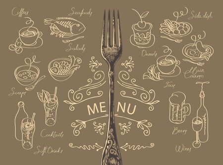 Vector menu for a restaurant or cafe with a fork, sketches of various dishes and handwritten inscriptions. Drawing chalk on the brown blackboard. Contour drawings in retro style