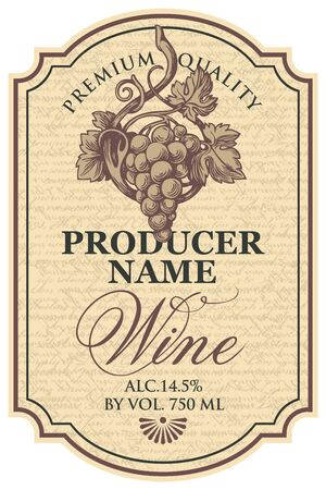 Vector wine label with hand-drawn bunch of grapes and calligraphic inscription in figured frame on the abstract handwritten background in retro style