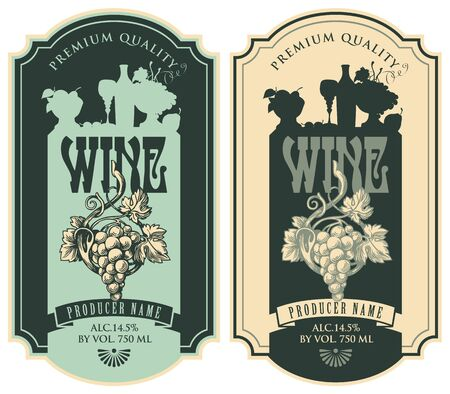 Set of vector wine labels with hand-drawn bunch of grapes and the silhouette of a still life in figured frame in retro style