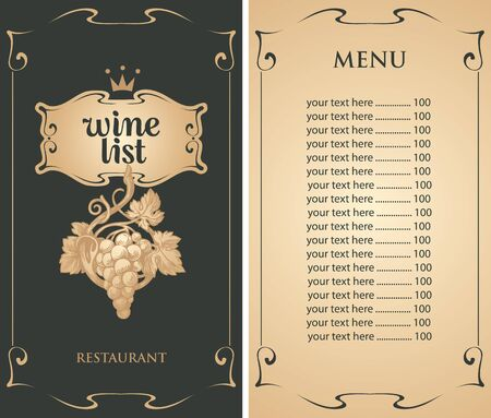 Vector Wine list with hand-drawn bunch of grapes, crown and price list. Wine menu for restaurant or cafe in black and beige colors in retro style. Ilustração