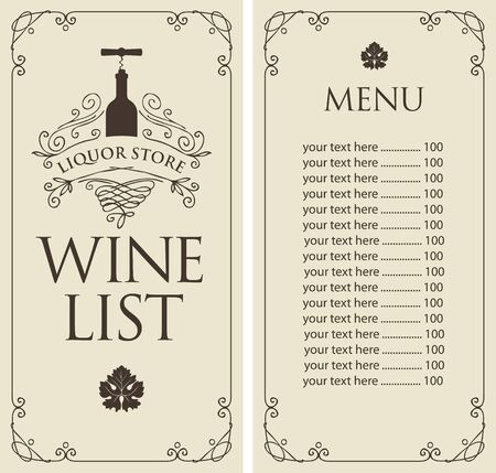 Vector Wine list with price list, bottle and corkscrew in retro style. Wine menu for liquor store in frame with curls on a light background.