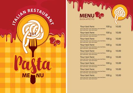 Vector menu for Italian restaurant with pasta on a fork, price list and ketchup drops on the background of checkered tablecloth. Pasta menu in flat style